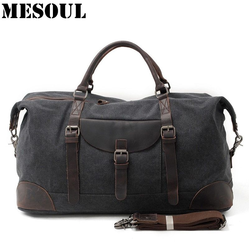 MESOUL Men Travel Bags hand luggage Canvas Duffle Bag Overnight Tote Youth Vintage Military Large Capacity Carry On Weekend Bag