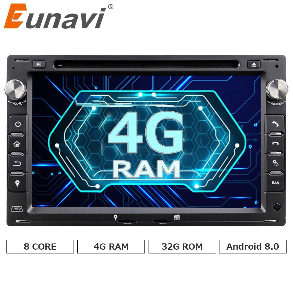 Eunavi Octa Core 4GB RAM 32GB Flash Android 8.0 7 inch Car DVD Player GPS For VW Glof Bora Passat Mk5 Golf Mk4 Polo Jetta Seat