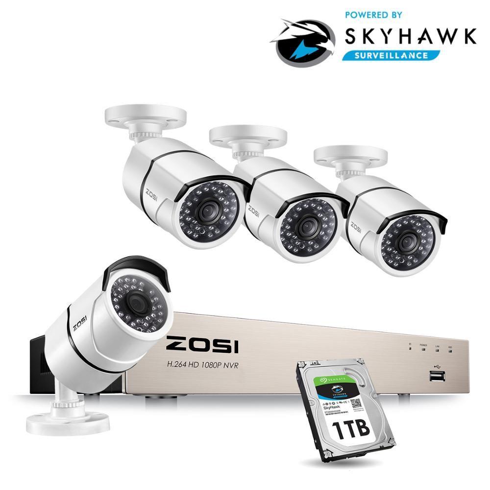 ZOSI Neue 1080P (1920x1080 p) POE Video Security System und (4) 2-Megapixel Outdoor Kugel IP Kameras mit 100ft Nachtsicht