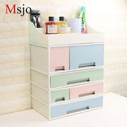 Msjo Combinable organizador cosmético caja de almacenamiento de cajones de plástico caja de maquillaje para baño algodón contenedor organizadores caja de almacenamiento