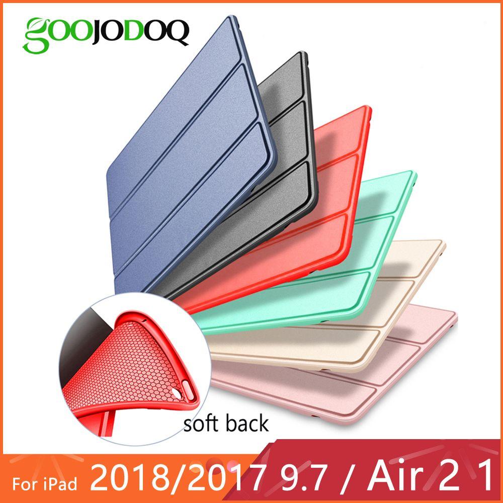 For iPad Air 2 Air 1 Case Silicone Soft Back Slim Pu Leather Smart Cover Case for iPad 2018 9.7 Air 2 1 5 6 Case Auto Sleep/Wake