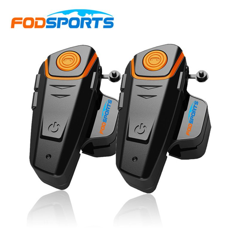 Russia Stock 2 pcs Fodsports Waterproof 100% Motorcycle Helmet Intercom BT-S2 1000m Moto Bluetooth Interphone Headset with FM