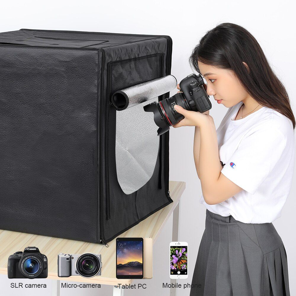 Mini Photo Studio Lightbox Tabletop Shooting Folding Studio Portable Tent 60cm Soft Box 160 LED Photography Light Kit Upgrade