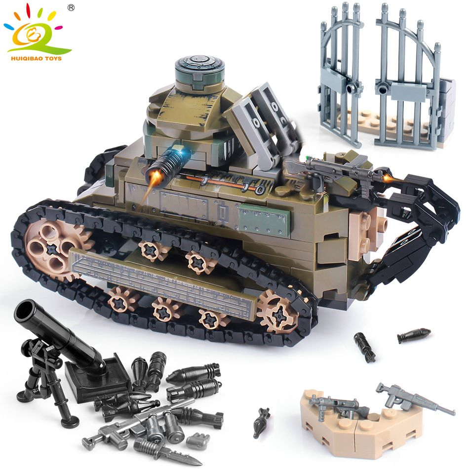 368PCS WW2 Renault FT17 Tank Military Building Blocks compatible legoingly Army Soldier Weapon figures Bricks Toys for Children