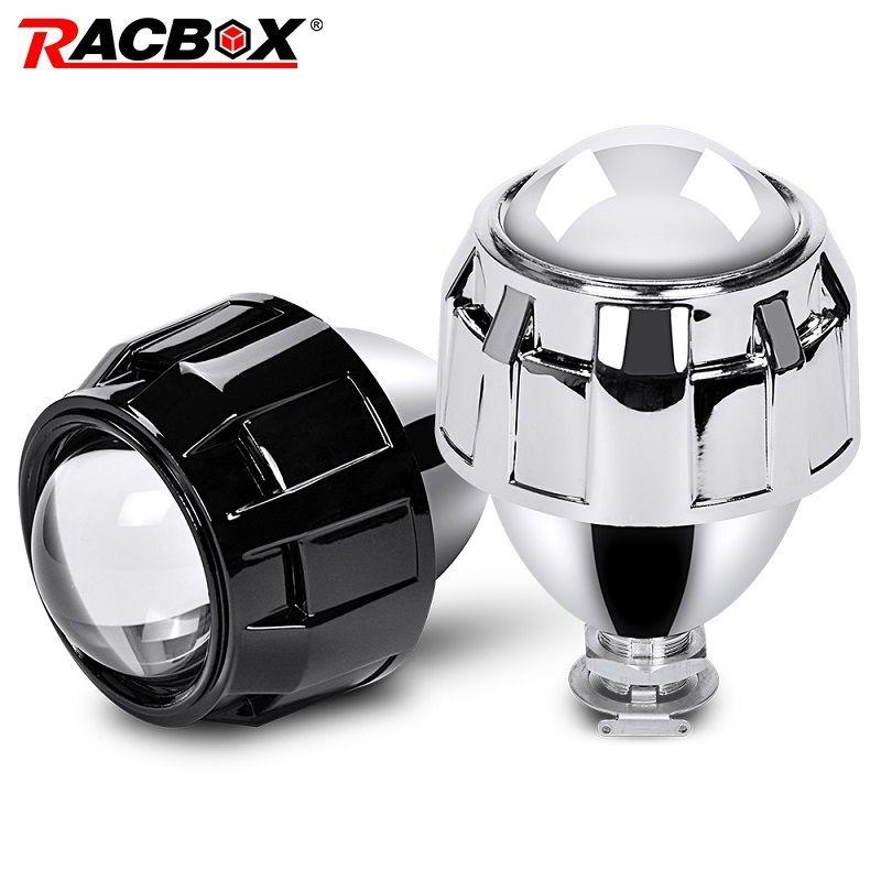 RACBOX Car Styling 2.5 inch HID Bi xenon Headlight Mini Projector Lens Retrofit H4 H7 Headlamp Lenses Black Silver Use H1 Bulb