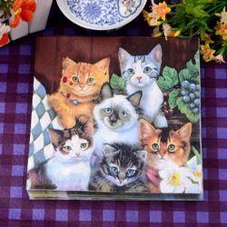 Feliz gato servilleta de papel del Partido para la muchacha festivo y para Festas tissue decoración servilleta 33 cm * 33 cm 20 unids/pack/lot