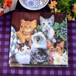 Happy Cat Pet Party Papierserviette Für Mädchen Festliche & Para Festas Tissue Dekoration Servilleta 33 cm * 33 cm 20 teile/paket/lot