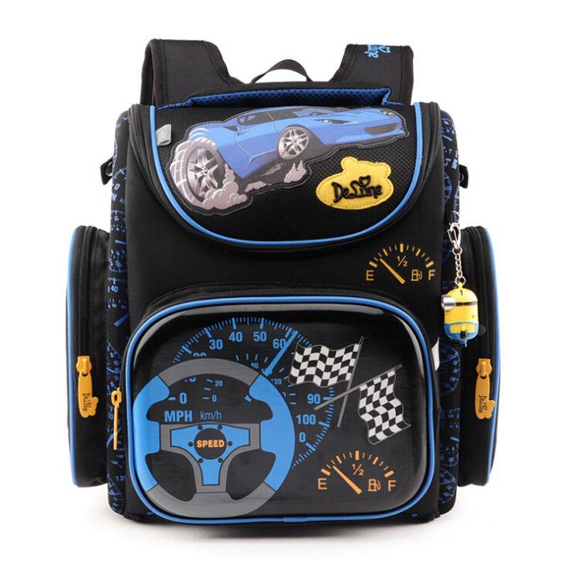 Delune Children <font><b>School</b></font> Bags for Boys Orthopedic Backpack Cartoon Cars planes Schoolbag Kids Satchel Mochila Infantil Grade 1-5
