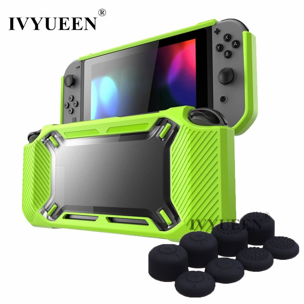 IVYUEEN Anti-Scratch Protective Case for Nintend Switch NS Console Heavy Duty Slim Rubberized Hard Case Cover with 8 Thumb Grip