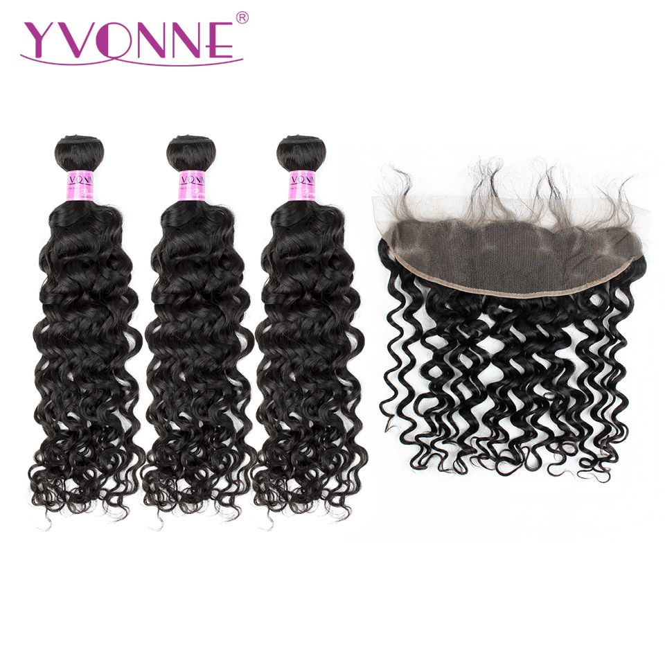 Yvonne Italian Curly Brazilian Human Hair Bundles With Frontal Natural Color 3 Bundles Hair Weave With 13*4 Lace Frontal