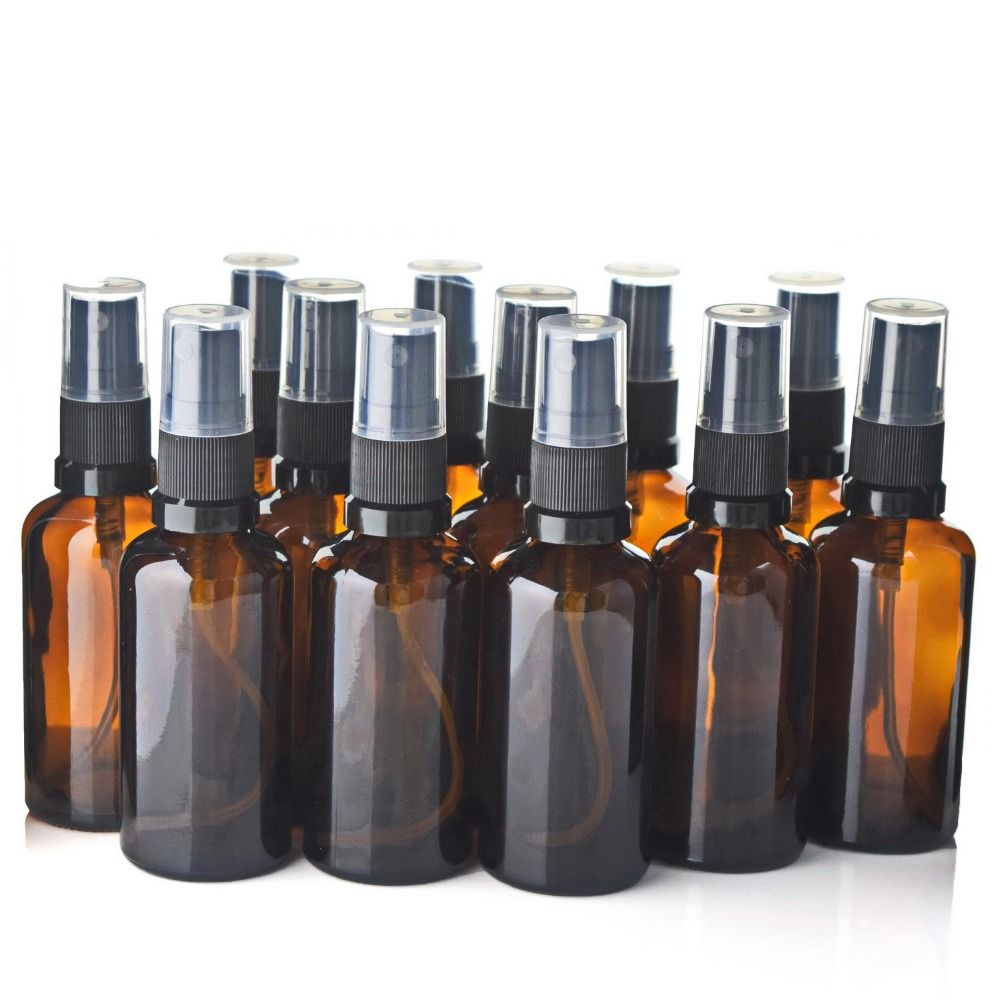 12 X 50ml Refillable Amber Glass Spray Bottle Atomizer Containers w/ Fine Msit sprayer for Perfume Essential Oils Aromatherapy