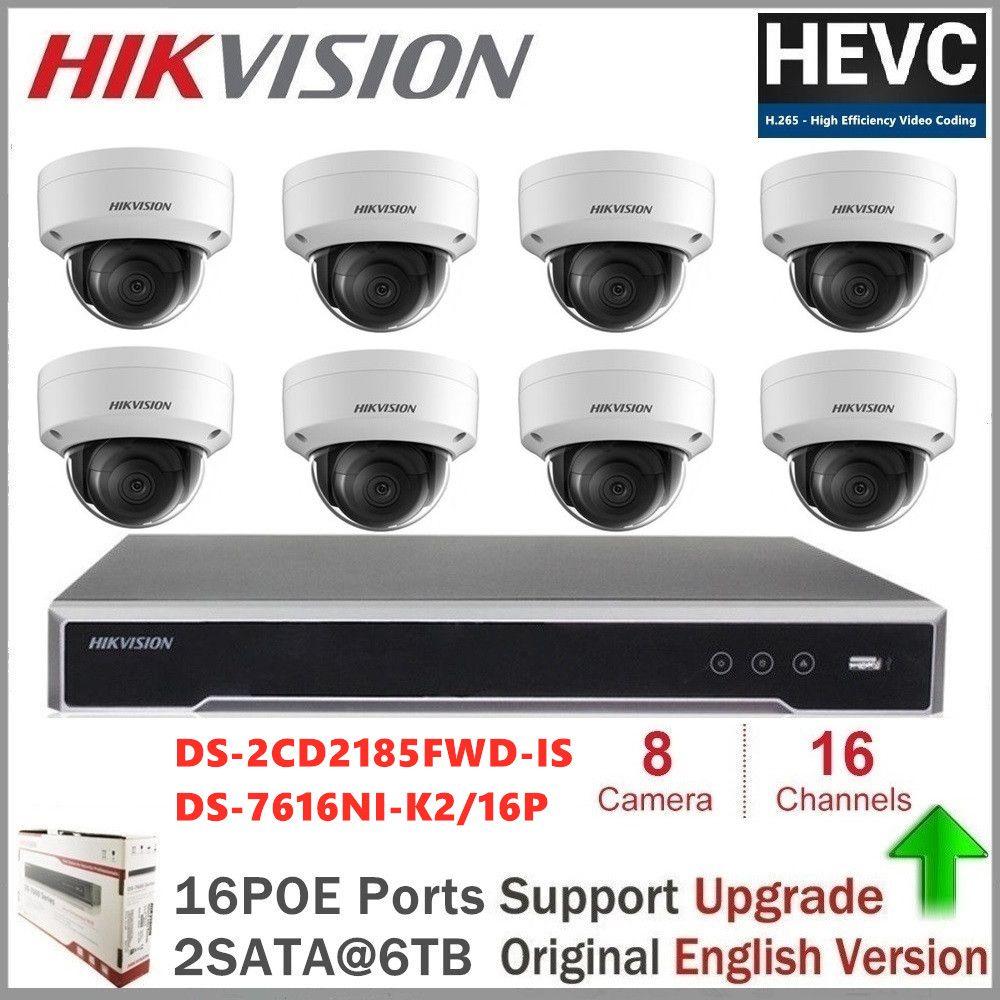 Hikvision 16CH 4K Netzwerk POE NVR Kit CCTV Sicherheit System 8 stücke 8MP Dome Outdoor IP Kamera IR Nacht vision Überwachung Set