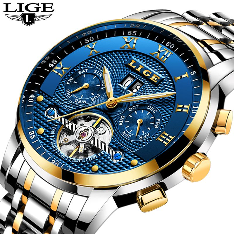 Relogio Masculino LIGE Men Watches Top Brand Luxury Automatic Mechanical Watch Men Full Steel Business Waterproof Sport Watches