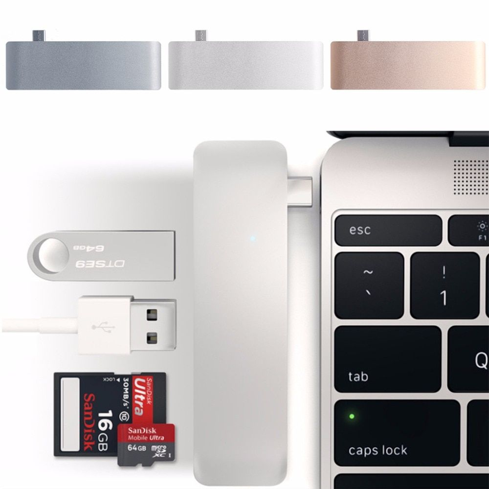 5-In-1 USB-C 3.1 Type-C Hub USB 3.0 Combo PD-Power SD/TF Card <font><b>Reader</b></font> For Dell HP MacBook Laptop