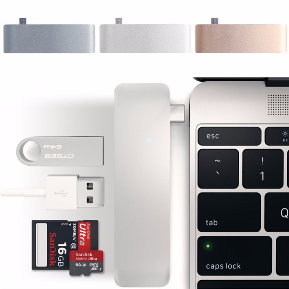 5-In-1 USB-C 3.1 Type-C Hub USB 3.0 Combo PD-Power SD/TF Card Reader For Dell HP MacBook Laptop