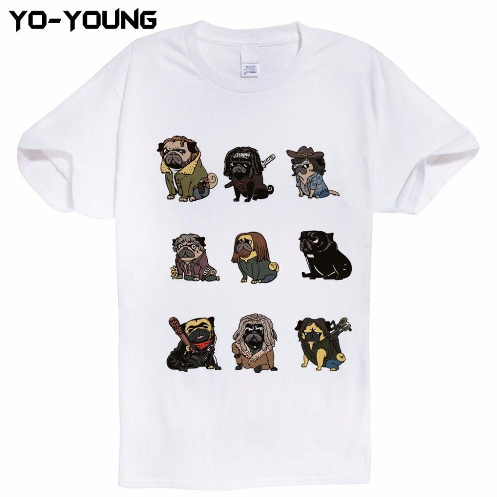 The Walking Dead Französisch Bulldog Lustige T-shirts Männer Digitaldruck 100% 180g Gekämmte Baumwolle Lustige Tees Homme Qualität Kundenspezifische
