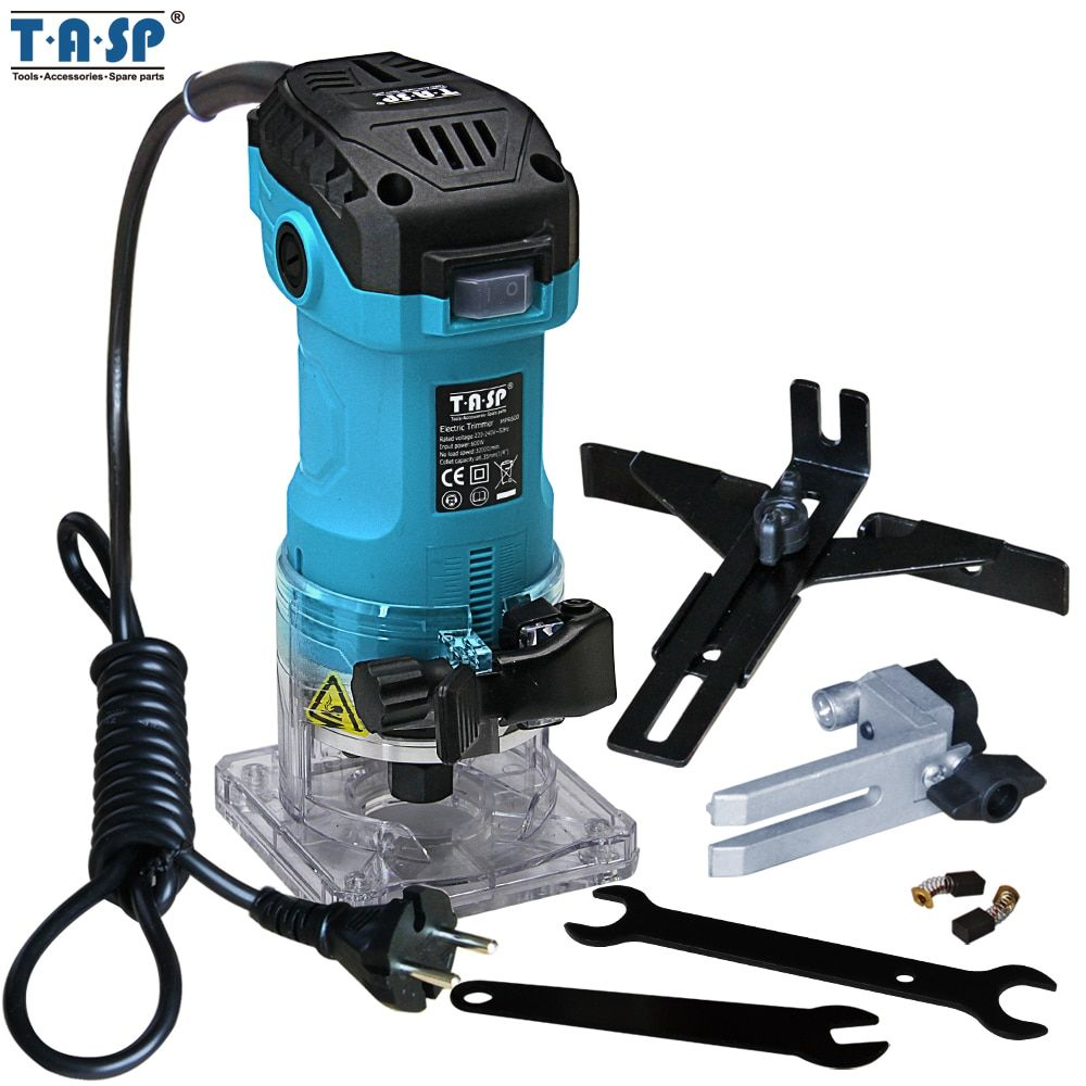 TASP 600 W Elektrische Laminat Rand Trimmer Mini Holz Router 6,35mm Collet Carving Maschine Zimmerei Holzbearbeitung Power Tools