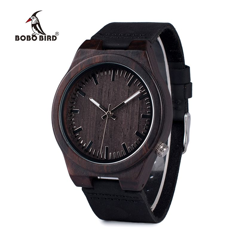 BOBO BIRD WB12 Men's Asymmetric Design Ebony Wooden Watches with Soft Leather Band with Gift Box as Gift Dropshipping Accept OEM