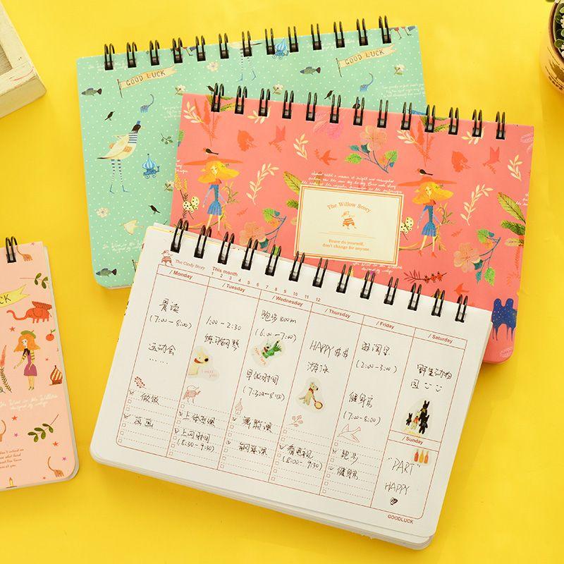 Blühende blume notebook Spule spirale planer Wöchentlich tagesordnung tagebuch briefpapier papelaria Material escolar bürobedarf 6858