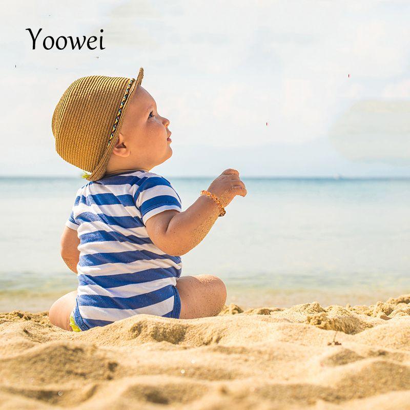 Yoowei Naturel Ambre Dentition Bracelets Bracelets de Cheville 4.7-8.7 ''Originaux Faits Main Bijoux Ambre de La Baltique Perles pour Bébé Adulte En Gros
