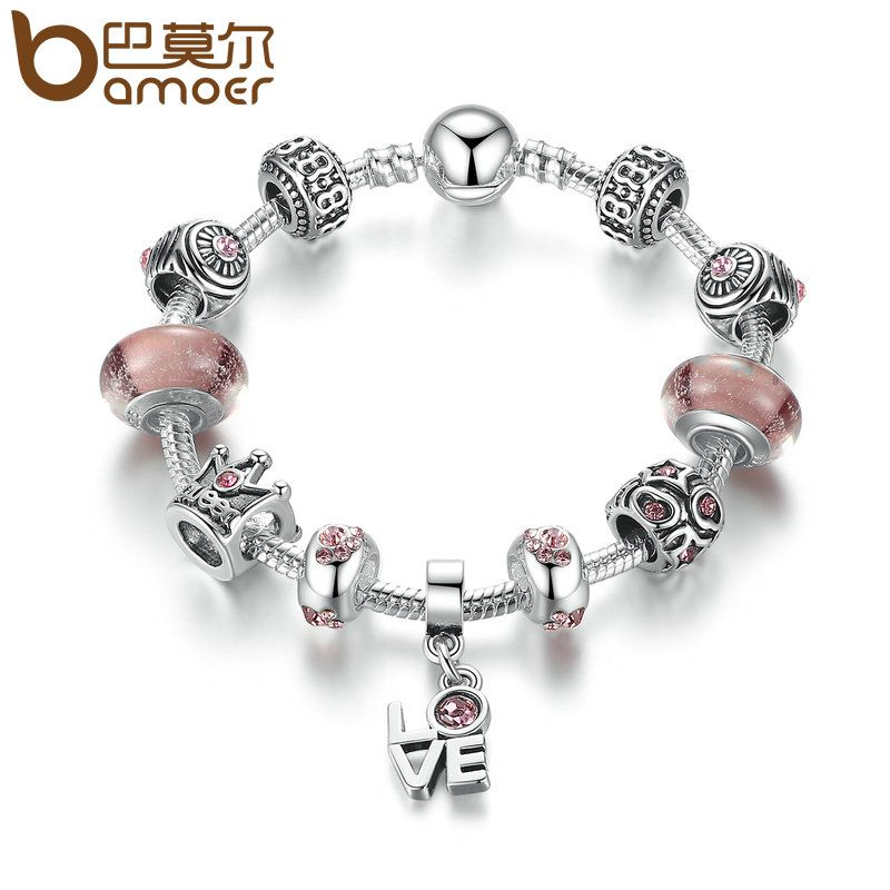 BAMOER Classic Silver Color Love Pendant & High Quality Brown Murano Beads Star Charm Bracelets Jewelry Accessories PA1905
