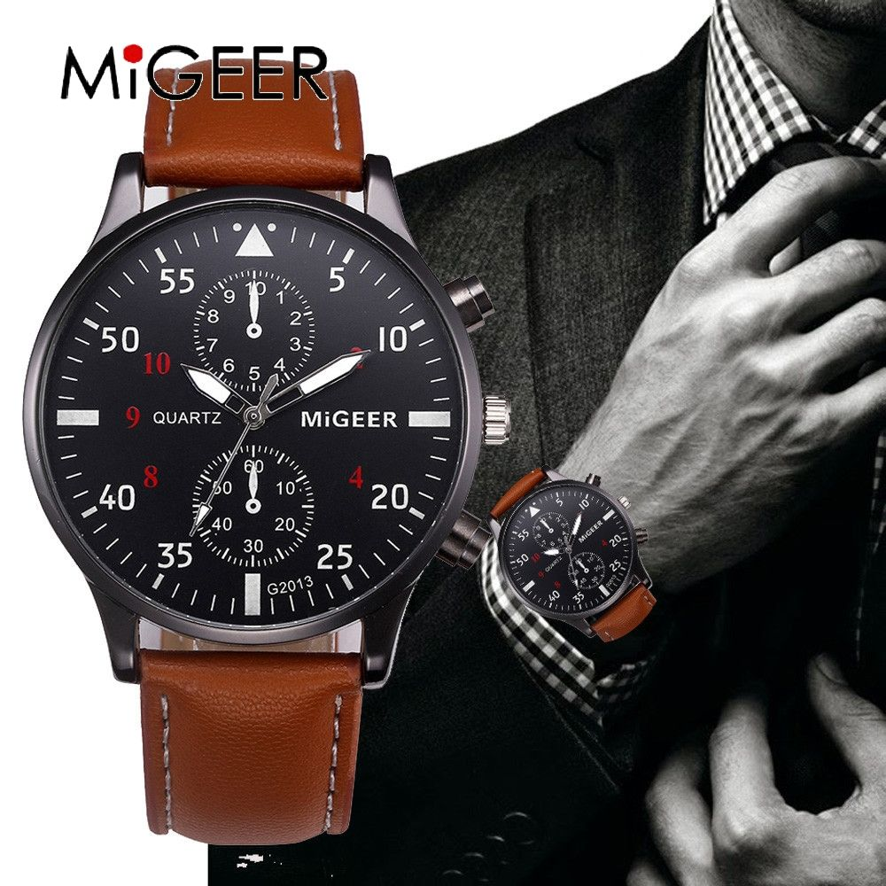MIGEER 2017 Fashion Casual Mens Watches Luxury Leather Business Quartz-Watch Men  Military Sport Wristwatch Relogio Masculino