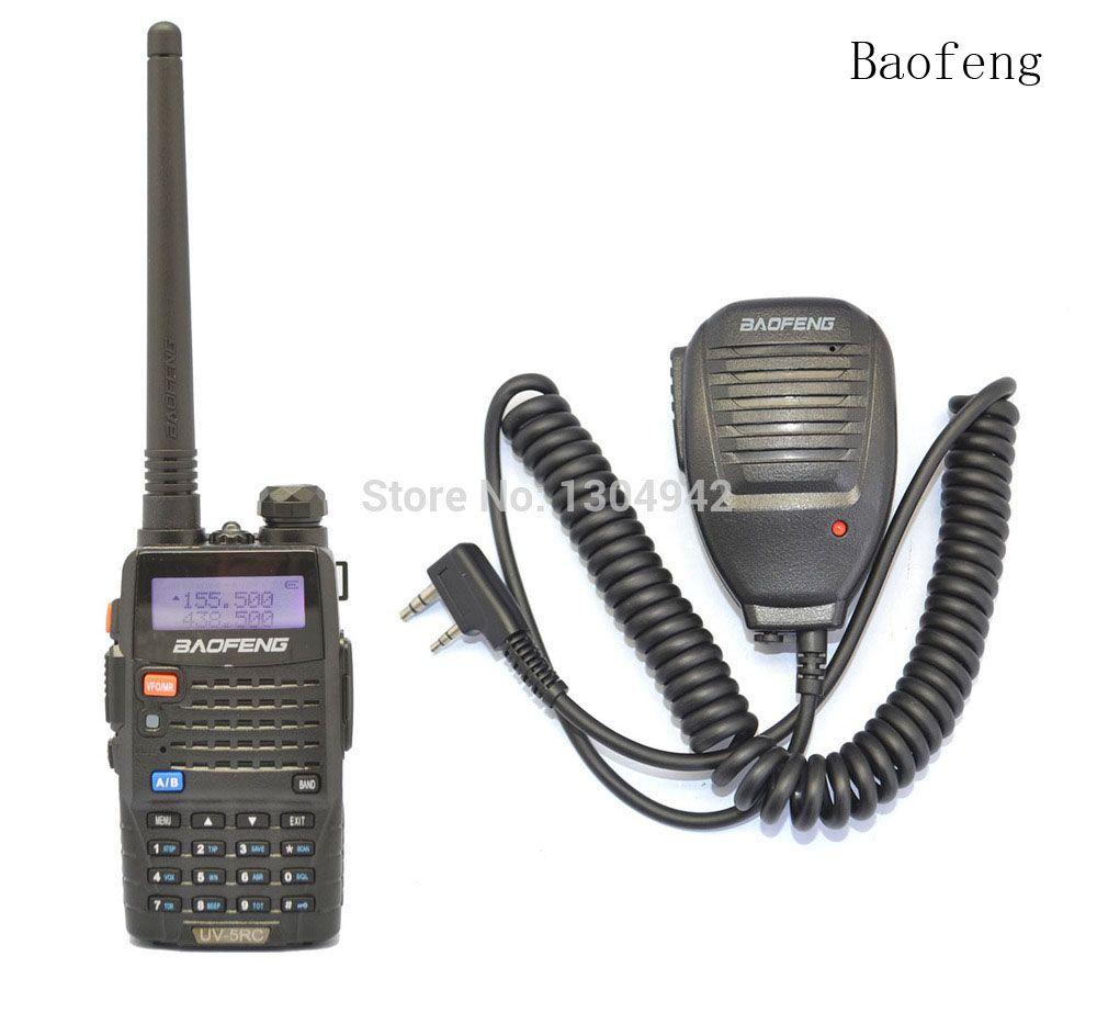 Black BAOFENG UV-5RC VHF/UHF Dual Band ham walkie talkie + BaoFeng Speaker Mic Handy Radio Receiver With Headfone