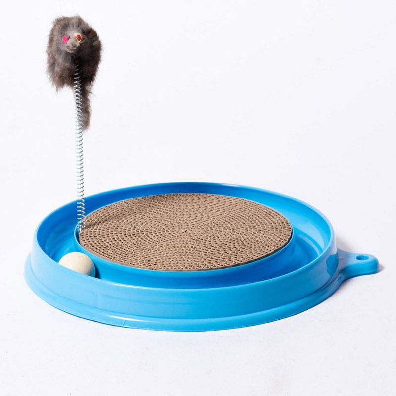 Cat Kitten Turbo Scratcher Scratching Pad Board Toy With Ball Mouse Training Play Fun Supplies E2S