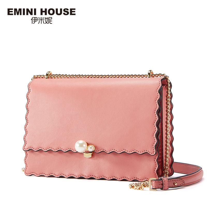 EMINI HOUSE Chain Strap Crossbody Bags For Women Messenger Bag Split Leather Padlock Pearl Design Women's Over-the-Shoulder Bags
