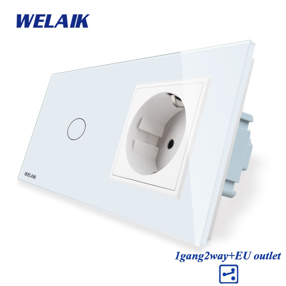 WELAIK 2Frame-Crystal-Glass Panel-Wall Switch-EU Touch-Switch Screen-EU Wall-Socket 1gang-2way AC110~250V A29128ECW/B