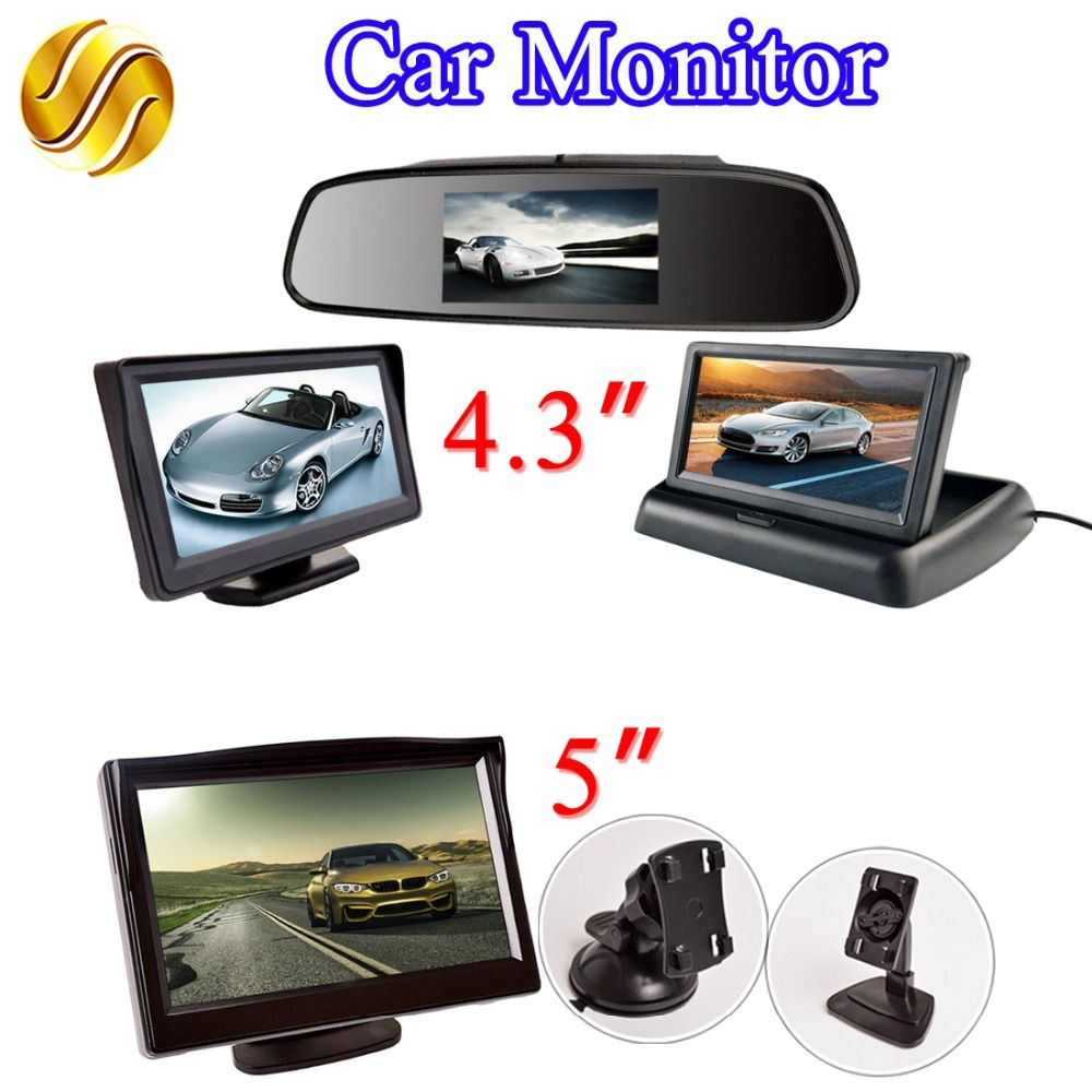 LCD Car Monitor 4.3 Inch / 5 Inch TFT Display Mirror / Desktop / Foldable 4.3 / 5 Video PAL/NTSC Rearview Backup Auto Parking