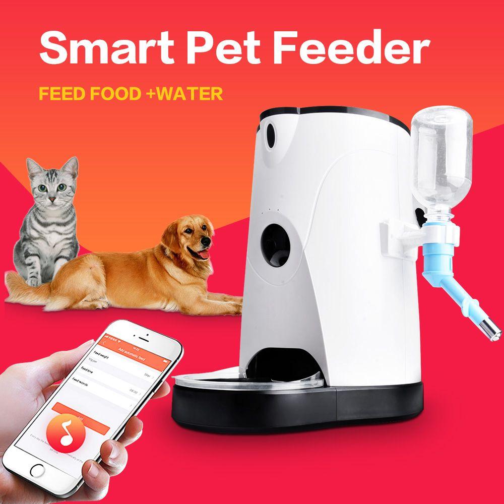 Famirosa 4L Automatische Pet Feeder Telefon APP Fernbedienung Katze Hund Wasser und Lebensmittel Automatische Pet Feeder Für Alle Jahreszeiten