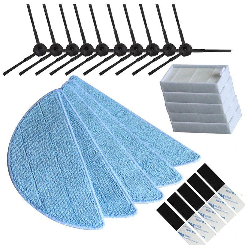 10 brosse latérale + 5 filtre HEPA + 5 chiffon de vadrouille + 5 pâte magique pour Chuwi ILIFE V3 + X5 V5 V5s V5 Pro pièces de rechange pour aspirateur