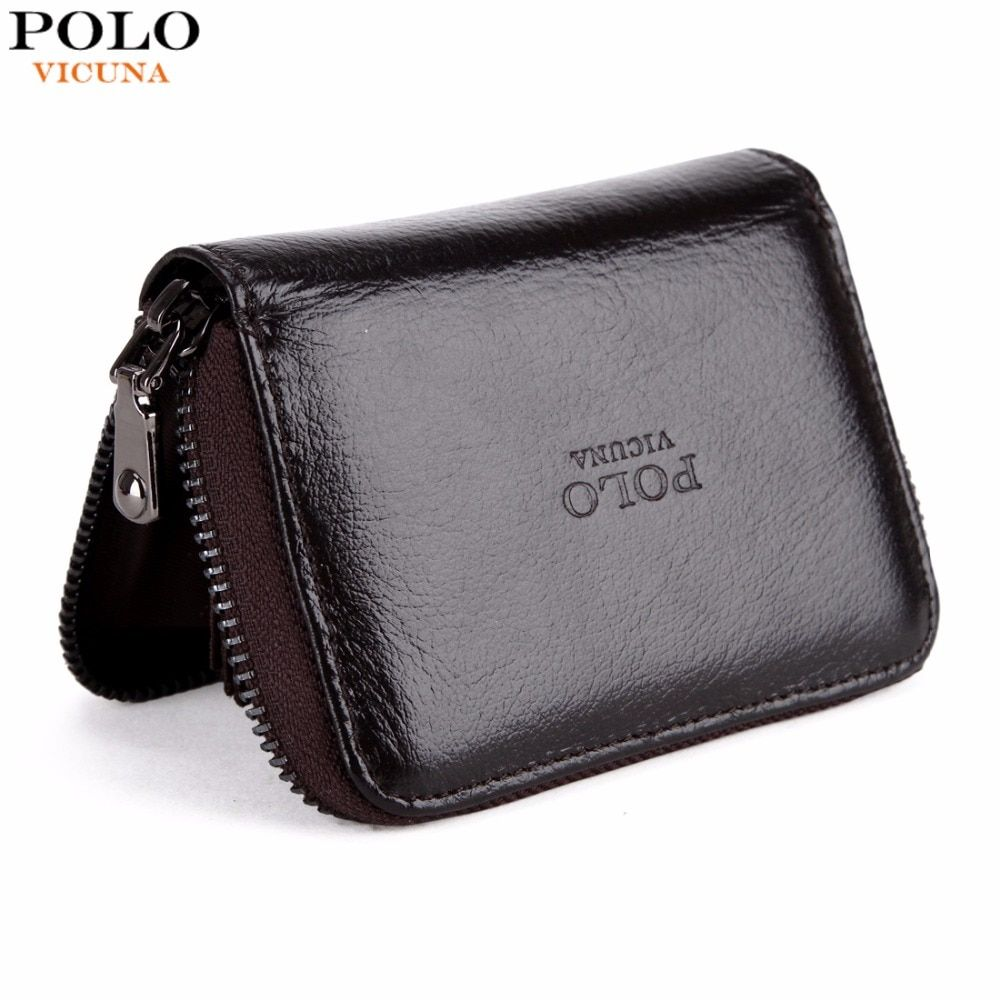 VICUNA POLO Brand Waxy Oil Genuine Leather Card Holder Zipper Open Cowhide Credit Card Holder High Capacity Men Card Wallet New