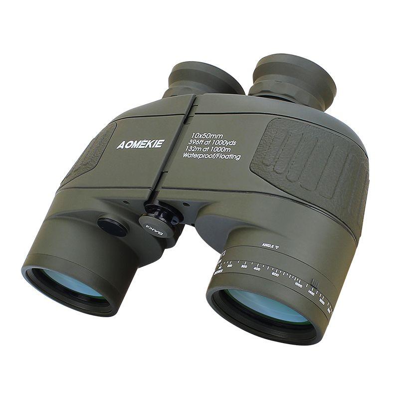 AOMEKIE 10X50 Fernglas mit Absehen Entfernungsmesser HD Jagd Bootfahren Militär Teleskop Stickstoff Wasserdicht Beschlagfrei
