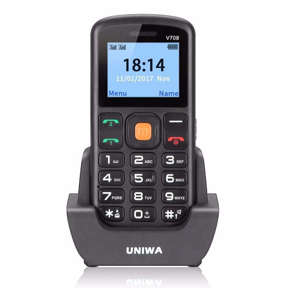 Uniwa V708 Unlocked Mobile Phone Charging Cradle 2G GSM SOS Button Dual SIM Cellphone Phone Bluetooth EN Keyboard