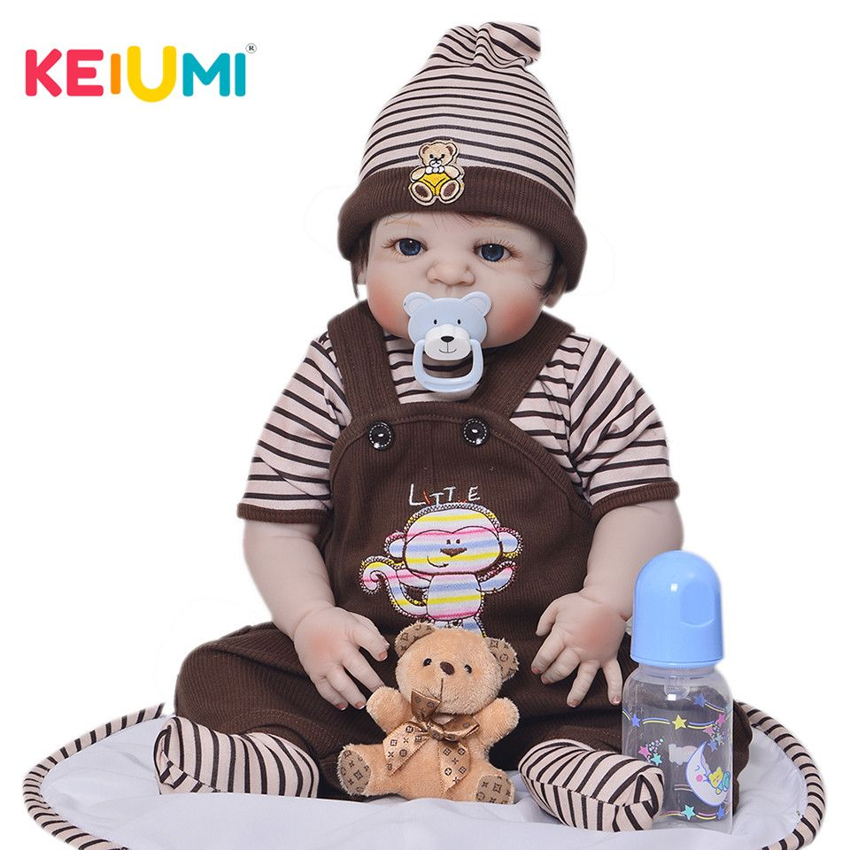 KEIUMI 23 Inch Cute Reborn Baby Doll Boy Handmade Silicone Reborn Dolls Full Body Vinyl Babies Toy For Kid's Birthday Gifts
