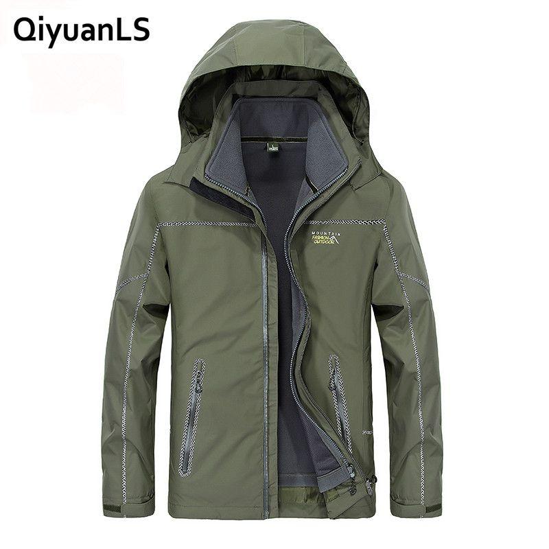 Field Base Fall Autumn jacket men 2 in 1 set jacket windbreak waterproof Jacket hooded Overcoat Casual Male Sportswear Jacket