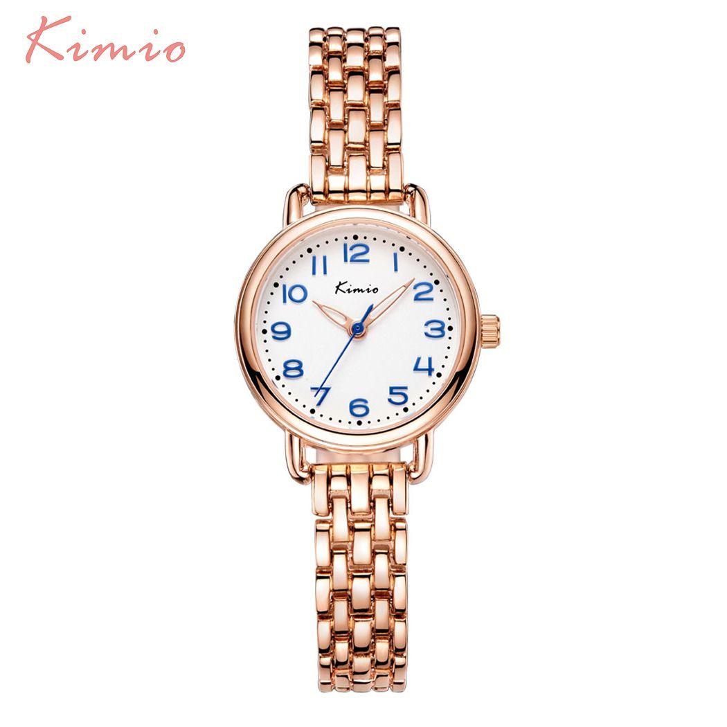 KIMIO модные простые наручные часы Для женщин браслет ремешок Скелет указатель 3D арабскими цифрами Весы Для женщин S Часы Лидирующий бренд