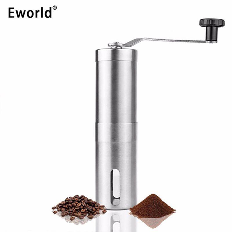Eworld moderne en acier inoxydable main moulin manuel moulins Machine réglable cuisine meulage poivre noix de café pilules moulin à épices