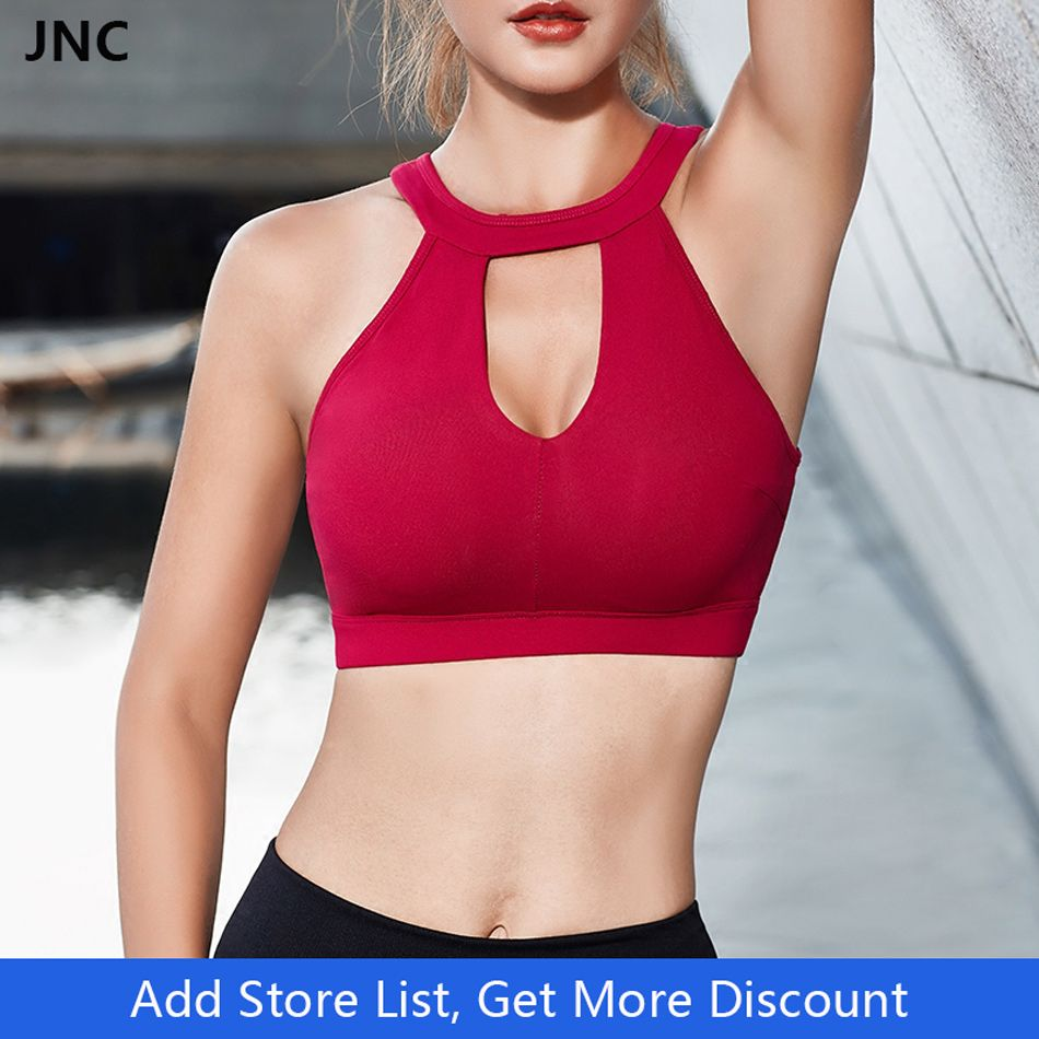 Sexy White Yoga Bra Sports Bra for Running Gym Fitness Athletic Bras Padded Push Up Tank Tops For Girls Underwear Hollow out Bra