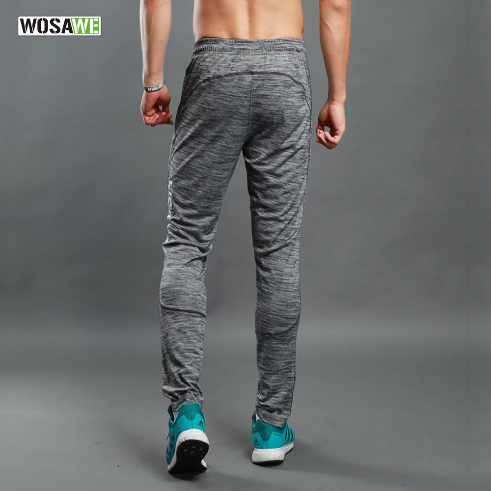 WOSAWE Summer Running Pants thin sports men's fitness pant breathable bodybuilding jogging training Trousers with pocket