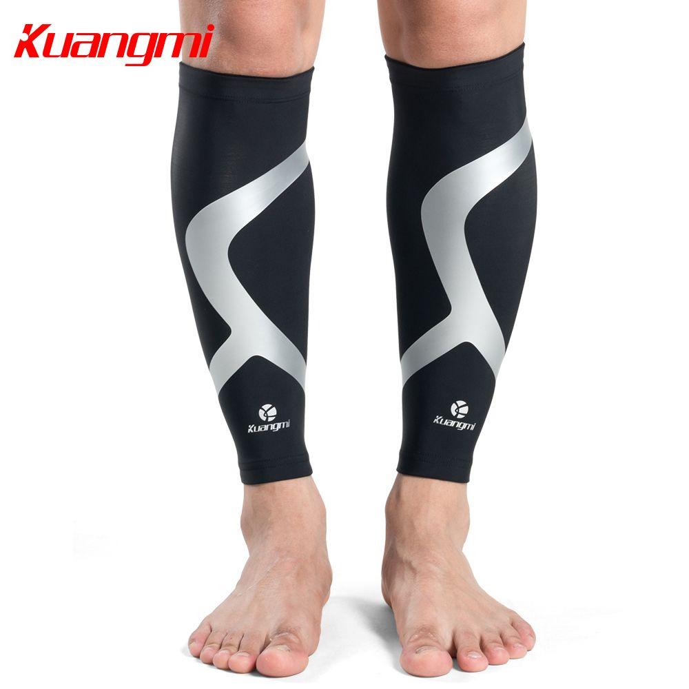 Kuangmi 2 pièces mollet Compression manches course jambe manches chaussettes cyclisme veau soutien tibia garde manches protecteur Football