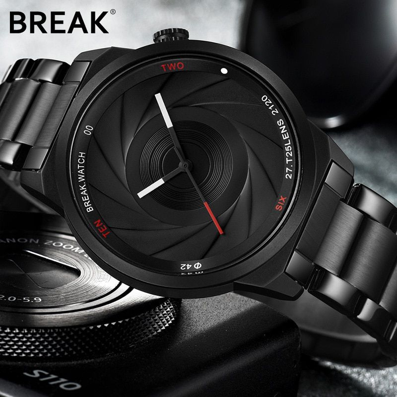 BREAK Photographer Series Unique Camera Style stainless Strap Men Women Casual Fashion Sport Quartz Modern Gift Wrist Watches