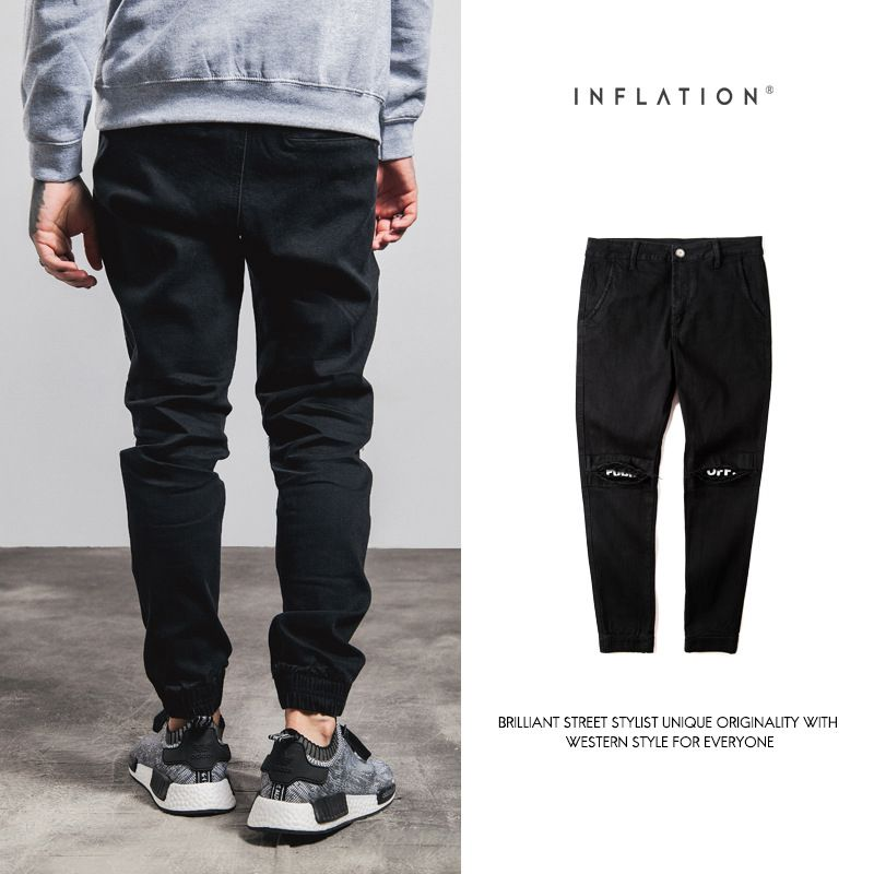 INFLATION New Ripped Frayed Pants For Men Skinny Destroyed Famous Hip Hop Black Men Joggers Pants Casual High Street Pant 233W16