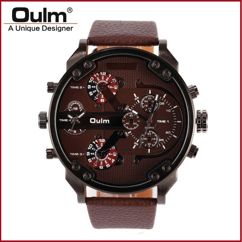 Hp3548 случай сплава пистолет черное покрытие двойной часовой пояс мужские часы с leatheroid пояс OULM Марка кольцо