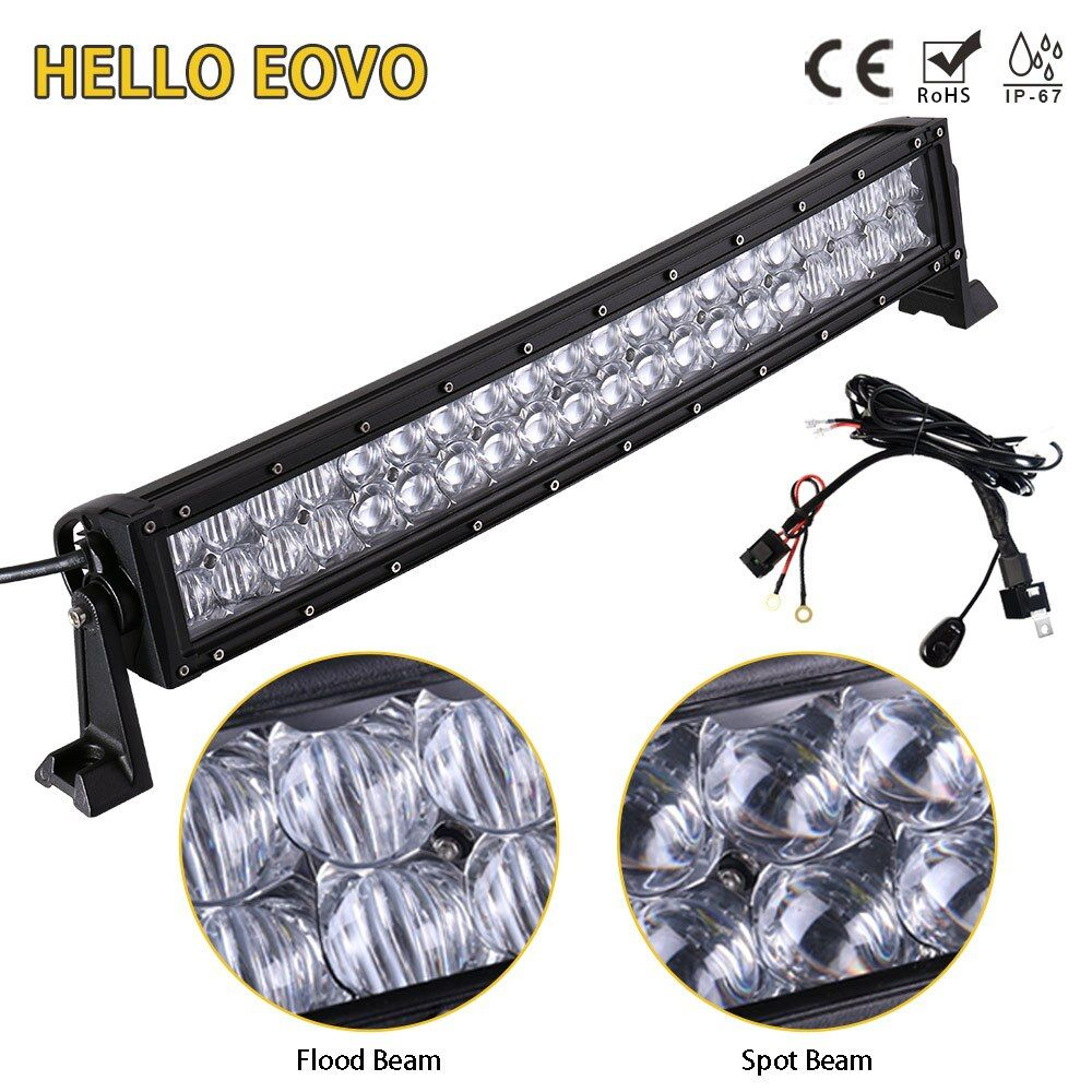 HELLO EOVO 5D 22 Inch Curved LED Light Bar for Work Driving Offroad Boat Car Tractor Truck 4x4 SUV ATV with Switch Wiring Kit