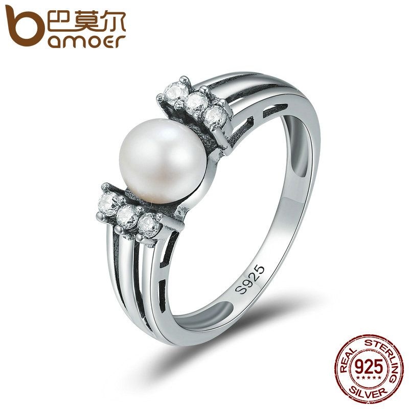 BAMOER 100% 925 Sterling Silver Tender Declaration Fresh Water Pearl Finger Rings for Women Authentic Silver Jewelry Anel SCR171