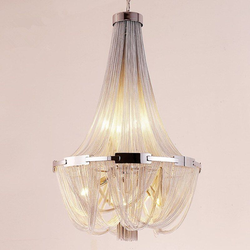Led Quaste Anhänger Lampe Silber Aluminium Kette Kronleuchter Post Moderne Luxus Leuchte