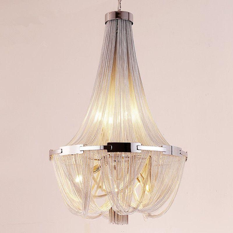 Led Tassel Pendant Lamp Silver Aluminum Chain Chandelier Post Modern Luxury Lighting Fixture